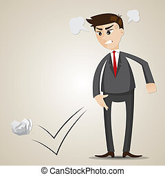 cartoon angry businessman throwing crumple paper -...