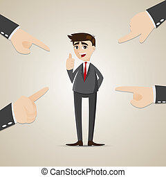 cartoon businessman chosen by teammate - illustration of...