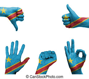 Hand set with the flag of Democratic Republic Congo - A set...