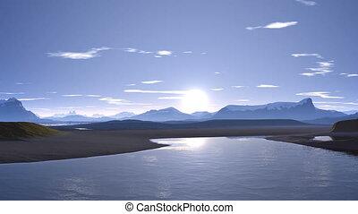 Sunrise over mountain lake