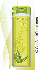 Aloe vera shampoo bottle Vector illustration