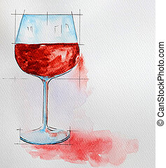 wine glass painting with watercolor - finest wine glass...