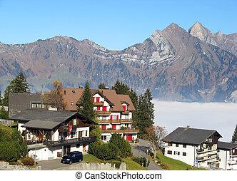 Alpine village - Small alpine village in Switzerland