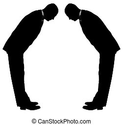 bowing businesman - businessmen bowing Asian culture...