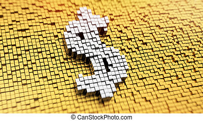 Pixelated Dollar - Pixelated symbol of US dollar currency...