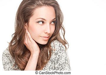 Cute brunette. - Portrait of gorgeous young brunette woman...