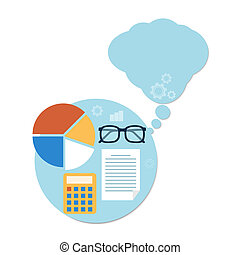 Calculator, chart and glasses Education concept -...