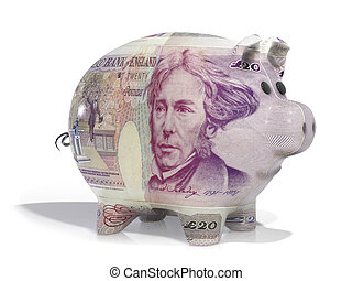 pound note piggy bank - Piggy back covered in twenty pound...