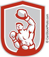 Boxer Boxing Jabbing Front Shield Retro - Illustration of a...