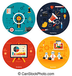 Icons for marketing, management, analytics. - Icons for...