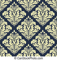Beige and dark blue seamless damask pattern for wallpaper...