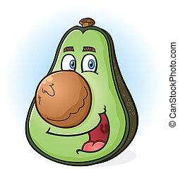 Avocado Cartoon Character - A smiling green avocado cartoon...