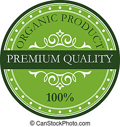 Green colored premium quality label - Green colored circular...