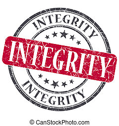 Integrity red grunge textured vintage isolated stamp