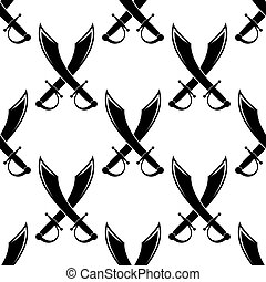 Crossed swords or cutlass seamless pattern in a black and...