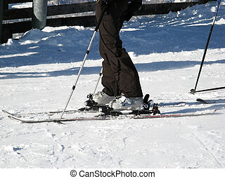 Fragments of skiing equipment on the snow