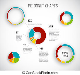 Vector Donut pie chart templates - Colorful Vector Donut pie...