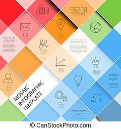 Vector mosaic infographic template - pastel colors - Vector...