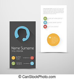 Modern vertical business card template with flat user...