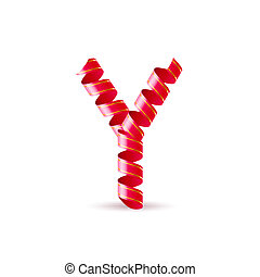 Festive alphabet - Letter Y made of red surled shiny ribbon