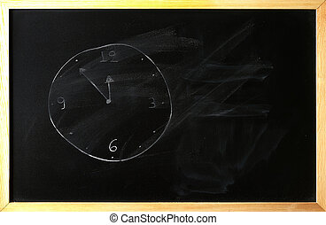 opacity clock is written on a blackboard