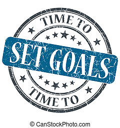 Time to set goals blue grunge textured vintage isolated...