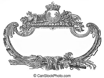 Renaissance ornamental frame with fleur-de-lis and crown -...