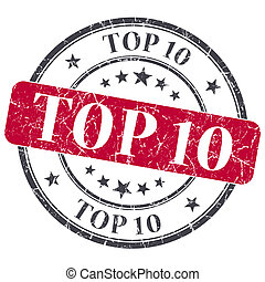 Top 10 red grunge textured vintage isolated stamp