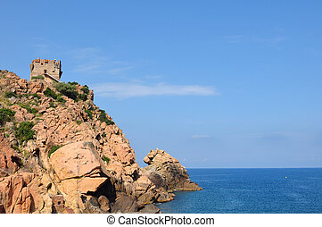 Genoese tower Porto - Genoese tower on the edge of a cliff...