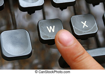 child press the W key symbol of the victory of an ancient...