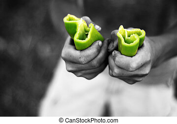 green peperoni divided