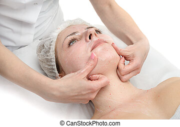 facial massage with scrub mask - beauty salon, facial...