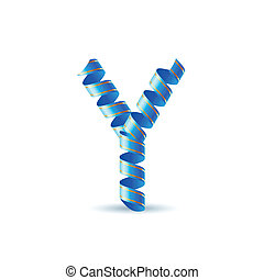 Festive alphabet - Letter Y made of blue curled shiny ribbon
