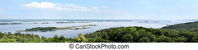 Dnipro river - aerial view on Dnipro river. panorama xxxl