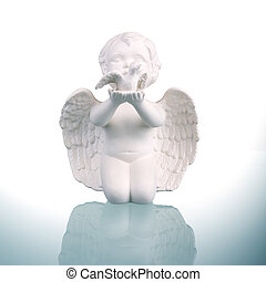 Angel figure on white background.