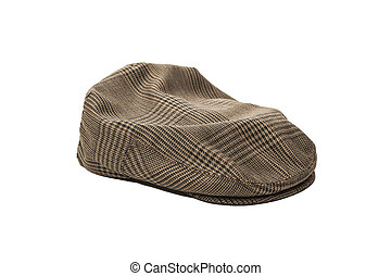 Mens Wool tweed  cap isolated on white