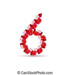 Festive numbers - Number six made of red curled shiny ribbon
