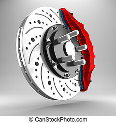 3d brake. - 3d racing brakes in the background.