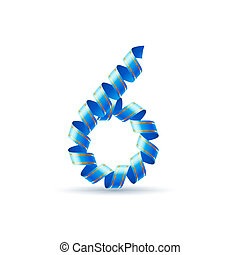 Festive numbers - Number six made of blue curled shiny...