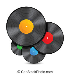 Vinyl records. - Composition of 4 color vinyl records.
