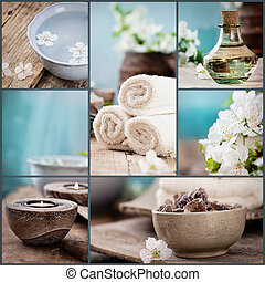 Spa collage series Spa collage made of five images Floral...
