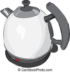 Kettle - Sketched line drawing of a modern electric kettle.