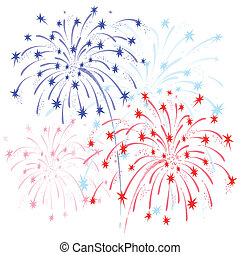 Fireworks red and blue - Vector colorful fireworks in honor...