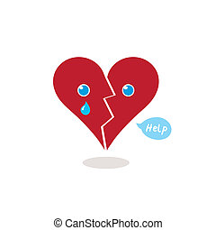 Broken Heart Crying for Help Cartoon Illustration