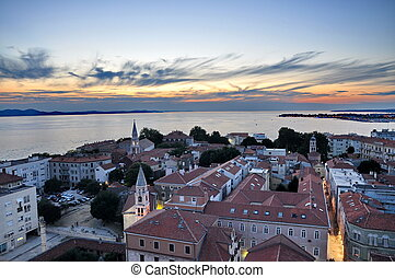 View of Zadar, Croatia from above at sunset
