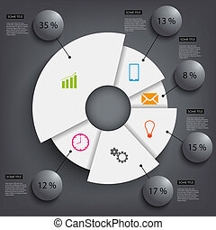 Abstract black round info graphic template vector eps 10