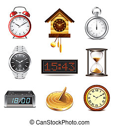 Different clocks icons vector set - Different clocks icons...