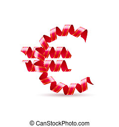 Euro - Symbol of euro is made of red curly ribbons.