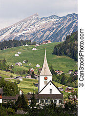 Swiss Alps - View over a village on the Swiss Alps.