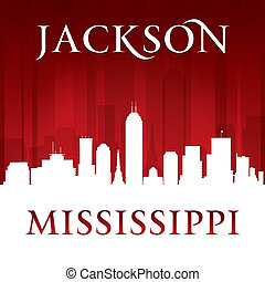 Jackson Mississippi city skyline silhouette red background -...